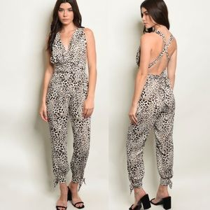 Leopard jumpsuit with infinity-style ties.